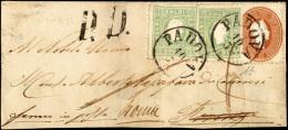 1863 - 3 Soldi Verde Giallo, Due Esemplari, 10 Soldi Bruno Mattone, Perfetto (35,34), Su Frontespizi... - Lombardy-Venetia