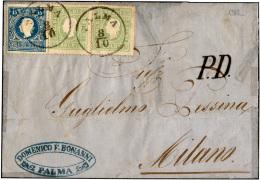 1862 - 3 Soldi Verde Giallo, Due Esemplari, 15 Soldi Azzurro, II Tipo (35,32), Perfetti, Su Sovracop... - Lombardy-Venetia