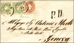 1862 - 3 Soldi Verde Giallo, Coppia Perfetta, 5 Soldi Rosso (35,33), Lieve Piega, Su Lettera Da Vice... - Lombardy-Venetia