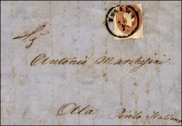 1863 - 15 Soldi Bruno Mattone (34), Dentellatura Fortemente Spostata In Basso, Perfetto, Su Lettera ... - Lombardy-Venetia