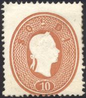 1862 - 10 Soldi Bruno (34), Nuovo, Perfetto, Gomma Non Originale, Valutato Per Senza Gomma. Raro. Fe... - Lombardy-Venetia