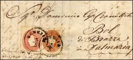 1863 - 5 Soldi Rosso, 10 Soldi Bruno Mattone (33,34), Perfetti, Su Lettera Da Venezia 3/3/1863 A Bra... - Lombardy-Venetia