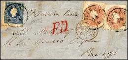 1861 - 15 Soldi Azzurro, II Tipo, 5 Soldi Rosso, Due Esemplari (32,33), Perfetti, Su Sovracoperta Di... - Lombardy-Venetia