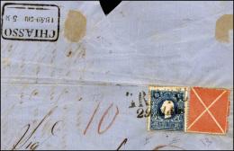 1859 - 15 Soldi Azzurro, II Tipo, E Croce Di Sant'Andrea Rossa, Formato Grande (32,C), Perfetti, Su ... - Lombardy-Venetia