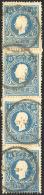 1859 - 15 Soldi Azzurro, II Tipo (32), Striscia Verticale Di Quattro, Usata A Codogno 3/5/1859 (peri... - Lombardy-Venetia
