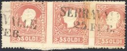1859 - 5 Soldi Rosso II Tipo (30a), Striscia Orizzontale Di Tre Con Dentellatura Verticale Fortement... - Lombardy-Venetia
