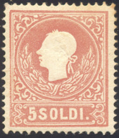 1859 - 5 Soldi Rosso, II Tipo (30), Gomma Originale, Perfetto. A. Ed Enzo Diena. ... - Lombardy-Venetia
