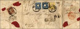 1862 - 2 Soldi Giallo, 15 Soldi Azzurro, Coppia, Al Verso 10 Soldi Bruno, Tutti II Tipo (28,32,31), ... - Lombardy-Venetia