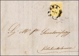 1860 - 2 Soldi Giallo, II Tipo (28), Perfetto, Isolato Su Circolare Da Verona 1/5/1860 A Villabartol... - Lombardy-Venetia