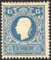 1858 - 15 Soldi Azzurro, I Tipo (27), Gomma Originale, Perfetto. Raro! A.Diena. ... - Lombardy-Venetia