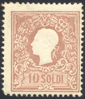 1858 - 10 Soldi Bruno, I Tipo (26), Gomma Originale Integra, Piccolo Assottigliamento Nell'angolo In... - Lombardy-Venetia