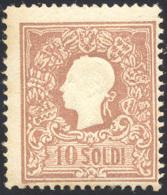 1858 - 10 Soldi Bruno, I Tipo (26), Gomma Originale Integra, Perfetto. Cert. Ferrario. ... - Lombardy-Venetia