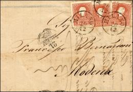 1858 - 5 Soldi Rosso, I Tipo (25), Tre Esemplari Provenienti Da Due Fogli Differenti, Perfetti, Su L... - Lombardy-Venetia