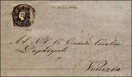 1859 - 3 Soldi Nero Grigio, I Tipo (24a), Perfetto, Isolato Su Lettera Da Venezia 17/10/1859 Per Cit... - Lombardy-Venetia