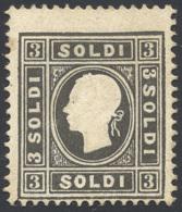 1858 - 3 Soldi Nero, I Tipo (24), Senza Gomma, Perfetto. Ferrario. ... - Lombardy-Venetia