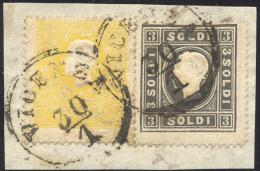 1858 - 2 Soldi Giallo E 3 Soldi Nero, Entrambi I Tipo (23,24), Perfetti, Usati Su Frammento A Vicenz... - Lombardy-Venetia