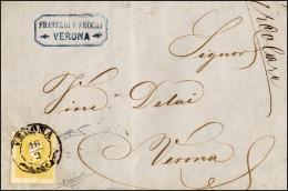 1859 - 2 Soldi Giallo, I Tipo (23), Perfetto, Isolato Su Circolare A Stampa Da Verona 16/2/1859 Per ... - Lombardy-Venetia