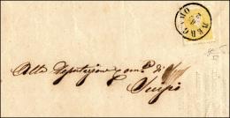 1858 - 2 Soldi Giallo, I Tipo (23), Perfetto, Su Sovracoperta Di Stampato, Leggermente Incompleta Al... - Lombardy-Venetia