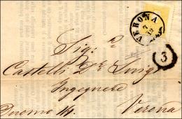 1858 - 2 Soldi Giallo, I Tipo (23), Perfetto, Con Salto Di Dentellatura, Isolato Su Splendida Circol... - Lombardy-Venetia