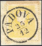 1858 - 2 Soldi Giallo, I Tipo (23), Perfetto, Usato Su Piccolo Frammento A Padova 23/12. Cert. Rayba... - Lombardy-Venetia