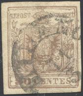 1857 - 30 Cent. Bruno Grigiastro, Falso Per Posta Di Milano (F6b), Usato A Milano 11/3, Riparato In ... - Lombardy-Venetia