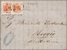 1858 - 15 Cent. Rosso Vermiglio, FALSO PER POSTA Di Milano, In Affrancatura Mista Con Valore Gemello... - Lombardy-Venetia