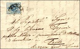 1858 - 45 Cent. Azzurro, III Tipo, Carta A Macchina (22), Perfetto, Su Lettera Da Milano 1/5/1858 A ... - Lombardy-Venetia