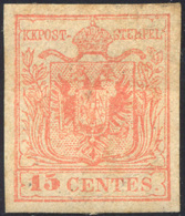 1854 - 15 Cent. Rosso, Carta A Macchina (20), Senza Gomma, Lievi Difetti. ... - Lombardy-Venetia