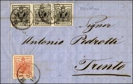 1858 - 10 Cent. Nero, Carta A Macchina, Tre Semplari Con Piega Passante, 15 Cent. Rosso (19,20), Su ... - Lombardy-Venetia