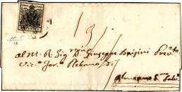 1857 - 10 Cent. Nero, Carta A Macchina (19), Perfetto, Isolato Su Sovracoperta Di Lettera, Senza Il ... - Lombardy-Venetia