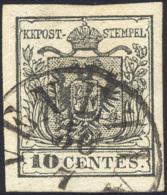 1857 - 10 Cent. Nero, Carta A Macchina (19), Perfetto, Usato A Venezia 30/7. Bello! ... - Lombardy-Venetia