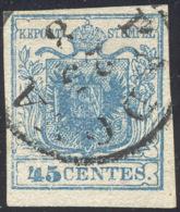 1851 - 45 Cent. Azzurro, I Tipo, Carta Costolata (17), Plì D'accordeon, Perfetto, Usato A Padova. C... - Lombardy-Venetia