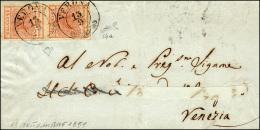1851 - 15 Cent. Rosso Vermiglio Chiaro, I Tipo, Carte A Coste Verticali (14a), Coppia, Perfetta, Su ... - Lombardy-Venetia