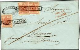 1851 - 15 Cent. Rosso Vermiglio, I Tipo, Piega Orizzontale, 15 Cent. Rosso Vermiglio, II Tipo, Due E... - Lombardy-Venetia