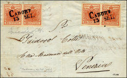 1851 - 15 Cent. Rosso Vermiglio, I Tipo, Carta A Coste Verticali, Coppia, 15 Cent. Rosso Vermiglio, ... - Lombardy-Venetia