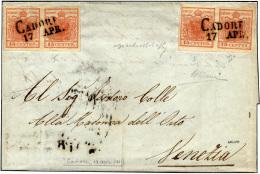 1851 - 15 Cent. Rosso Vermiglio Due Coppie Orizzontali, Una I + II Tipo, L'altra Entrambi I Tipo, Ca... - Lombardy-Venetia