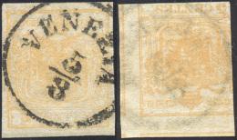 1851 - 5 Cent. Giallo Ocra, Controstampa Capovolta (13), Perfetto, Usato A Venezia 5/8. ... - Lombardy-Venetia
