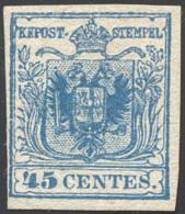 1855 - 45 Cent. Azzurro, III Tipo, Carta A Mano (12), Perfetto, Nuovo Senza Gomma. Cert. Ferrario. ... - Lombardy-Venetia