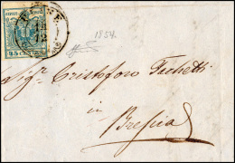 1854 - 45 Cent. Azzurro Ardesia, II Tipo (11), Ben Marginato, Con Vistosa Plì D'accordeon Centrale,... - Lombardy-Venetia