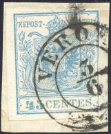 """1850 - 45 Cent. Azzurro Chiaro, I Tiratura (10a), Bella Varietà Di Clichè Sul """"5"""", Corto A Destra,.. - Lombardy-Venetia"""