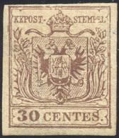 1854 - 30 Cent. Bruno Lillaceo, II Tipo, Carta A Mano (9), Gomma Originale, Lieve Piega. Cert. Ferra... - Lombardy-Venetia