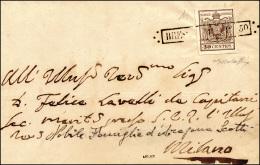 1850 - 30 Cent. I Tiratura (7b), Perfetto, Su Sovracoperta Di Lettera Da Brescia 1/9/1850 (punti 5) ... - Lombardy-Venetia