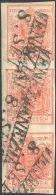 1852 - 15 Cent. Rosso, Carta A Mano, III Tipo, Striscia Verticale Di Tre, L'ultimo Esemplare Con Amp... - Lombardy-Venetia