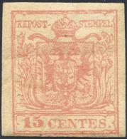 1852 - 15 Cent. Rosso, Carta A Mano, III Tipo (6), Gomma Originale Con Lieve Grinza Naturale, Perfet... - Lombardy-Venetia