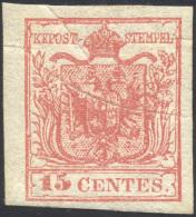 1852 - 15 Cent. Rosso, III Tipo, Carta A Mano (6), Nuovo, Gomma Originale Integra, Perfetto. Present... - Lombardy-Venetia