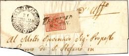 1851 - 15 Cent. Rosa Carminio, II Tipo (5a), Ampio Angolo Di Foglio, Usato Su Ampio Frammento Di Let... - Lombardy-Venetia