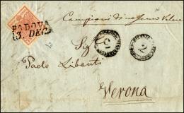 """1851 - 15 Cent. Rosa, II Tipo, A Mano (5), Perfetto, Su Lettera Contenente """"campioni Di Nessun Valor... - Lombardy-Venetia"""