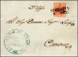 1851 - 15 Cent. Rosso Vermiglio (4), Perfetto, Su Sovracoperta Di Lettera Da Soresina 8/10 (punti 4)... - Lombardy-Venetia