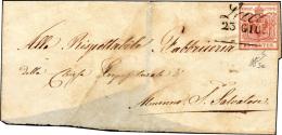 """1850 - 15 Cent. Rosso, I Tiratura (3a), Ritagliato """"lilliput"""", Su Sovracoperta Di Lettera, Senza Il ... - Lombardy-Venetia"""