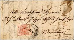 1850 - 15 Cent. Rosso, I Tiratura (3a), Perfetto, Su Lettera Da Verona 21/6/1850 A Bardolino. Bella ... - Lombardy-Venetia